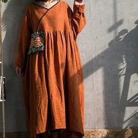 Women Hooded Maxi dress,  Loose bottoming dress in yellow, red, Loose pullover dress