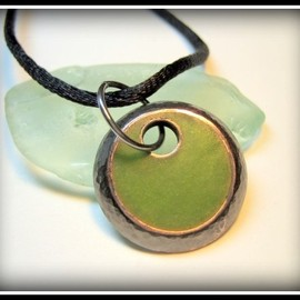 Luulla - Pendant - Lime Green Resin Textured Oxidized Copper