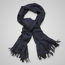BOTTEGA VENETA - Midnight Blue Black Cashmere Scarf