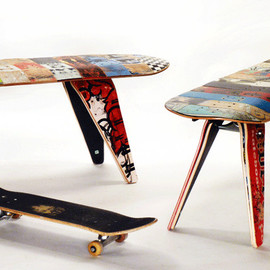 deck bench -  Recycled skateboard bench available