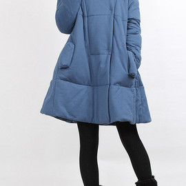 etsy - Winter single row of dark button padded Coat