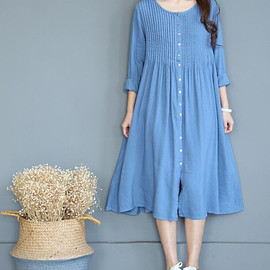dresses - Spring loose long cotton and linen dresses women long by MaLieb