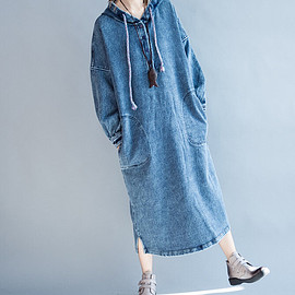 dress - Autumn and Spring wear Long dress cotton  large size Hooded dress