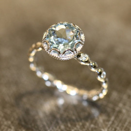 LaMoreDesign - Floral Aquamarine Engagement Ring