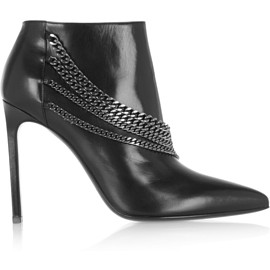 SAINT LAURENT - Chain-embellished leather ankle boots