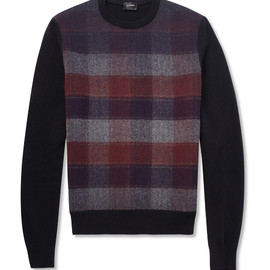 JIL SANDER - PLAID-FRONT WOOL SWEATER