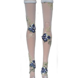 "thedaughterwhosews - Blue Embroidered flower Doll Stockings for Barbie, Fashion Royalty, Dollfie, 11-12"" fashion"