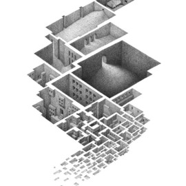 Fine Art America - Mathew Borrett - Exploring a Hypnogogic City Drawing  - Exploring a Hypnogogic City Fine Art Print