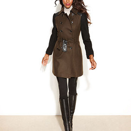 DKNY - Double-Breasted Colorblock Belted Wool-Blend Coat