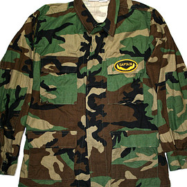 VINTAGE - Vintage Camo Military Style Shirt with Captain Patch