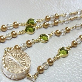 iichi - Exotic Moss Green&Gold☆Necklace