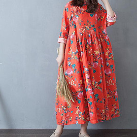 large size dress - spring Cotton and linen oversized dress long sleeve large size dress