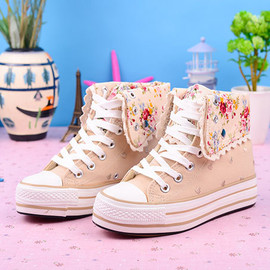 Floral Print Fold Over Platform Shoes Thick Sole Sneaker