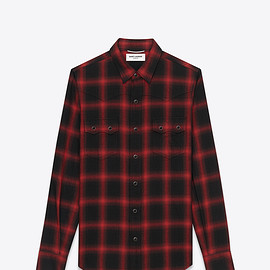 Saint Laurent Paris - YSL NASHVILLE SHIRT IN BLACK AND RED PLAID COTTON AND TENCEL