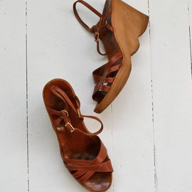 Famolare wedges 1970s platform sandals leather 70s