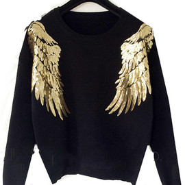 Sequined Wing Knit Crop Black Sweater pictures