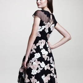 VALENTINO - VALENTINO Floral-Lace Point d'Esprit Dress