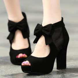 Fashion Elegant Bowknot Peep Toe High Heel Shoes