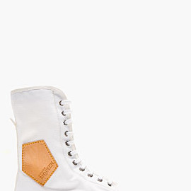Alexander McQueen - WHITE CANVAS LEATHER-TRIMMED HIGH-TOP SNEAKERS
