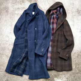 ts(s) - Double Breasted Coat - Needle Punch Plaid Wool Cloth