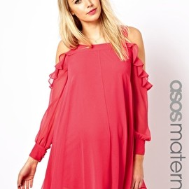 asos - ASOS Maternity Swing Dress with Cut Out Shoulder and Ruffle