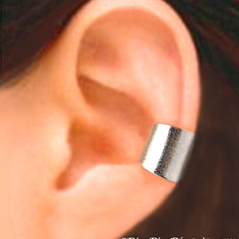 RingRingRing.etsy.com - Wide silver ear cuff earring jewelry - Simple Earcuff for men and women  (12 mm) 080812
