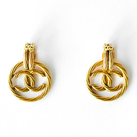 CHANEL - Vintage gold logo hoop earrings
