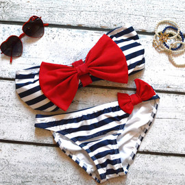 Amazing Lace - Sailor's Girl Navy Striped Red Bow Bandeau Bikini