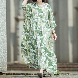 Floral Maxi Dress - women Floral Maxi Dress, Oversize Holiday dresses, Summer pockets Dress