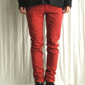 THREE BLIND MICE - STRETCH COLOR DENIM FL SKINNY PANTS [DEEP OORANGE]