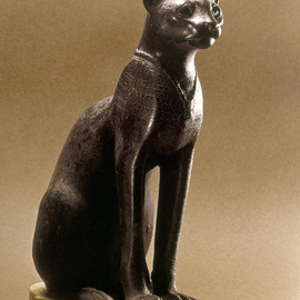Egyptian Bronze Statuette - Egyptian Bronze cat Statuette Photograph  - Fine Art Print