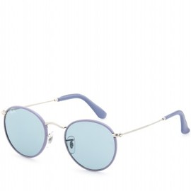 Ray-Ban - ROUND LEATHER TRIMMED SUNGLASSES