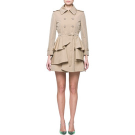 miu miu - Technical cotton double-breasted trench coat ruffles on hem