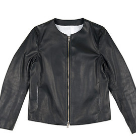 The Letters - Classical Leather Jacket-Black