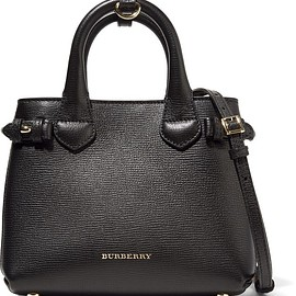 Burberry - London mini checked canvas-paneled textured-leather shoulder bag