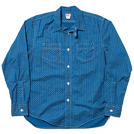 WORKERS - Indigo Discharge Shirt, Stars & Stripes