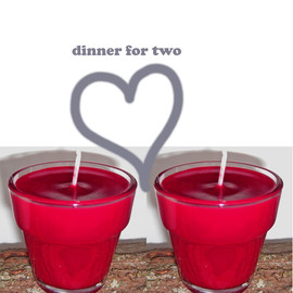 Luulla - Dinner Candle Duo, Red Unscented Soy Candles, handcrafted