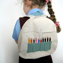 leonandcoco - Green Gingham Baby & Toddler Backpack with Mini Pencils