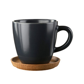 Hoganas Keramik - COFFEE MUG WITH WOODEN SAUCER 33 CL