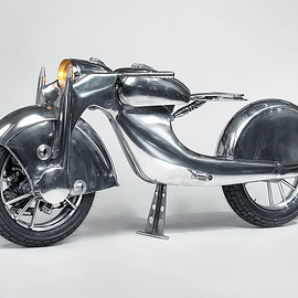 Rodsmith Motorcycles - Motorcycle art / A front-wheel-drive motorcycle by Haas Museum