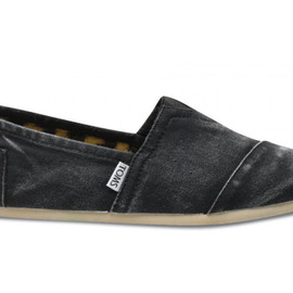 Men's Toms Black Stone-Washed Twill Classics Shoes