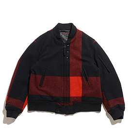 ENGINEERED GARMENTS - Aviator Jacket-Big Plaid Wool Melton-Black