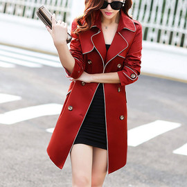 OL Style Solid Color Double-breasted Slim Fit Trench Coat