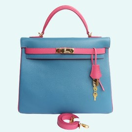 HERMES - Kelly Bag lightblue×pink