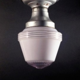 "アメリカン・アンティーク - 1950's ""Art-Deco"" Milk Glass Ceiling Lamp"