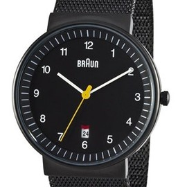 braun - Men's Analog Watch 40 mm Black Face Black Mesh Band