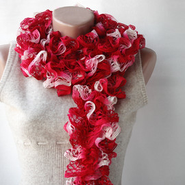 Luulla - Red knit scarf Carmine red Winter accessories romantic gift