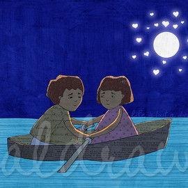 Luulla - Couple art print Night art print Rowboat art print Moon and stars art print Midnight blue art print Life Is But A Dream 5 x 7 print