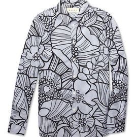 MARNI - Marni Striped Flower-Print Cotton Shirt