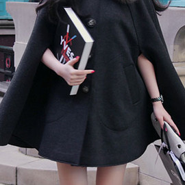coat - Image of [grzxy6600436]European Style Oversize Faux Fur Collar Pure Color Cloak Worsted Coat